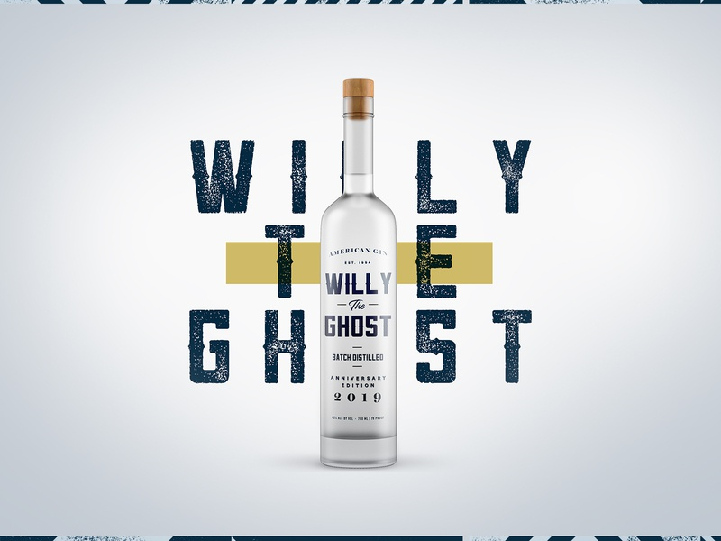 Willy The Ghost Gin packaging concept logo design liquor ghost drink beverage bottle graphic design typography pattern branding concept mockup branding agency label design branding design packaging branding alcohol gin