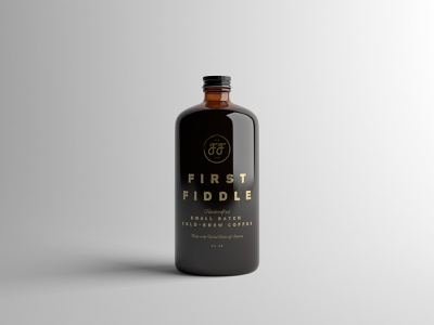 First Fiddle Coffee Mockup product mockup small batch drink beverage stamp foil cold brew packaging mockup packaging design visual identity logo design brand identity packaging branding coffee