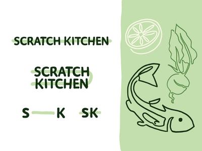 Scratch Kitchen Unused Brand Identity Pt. III type restaurant brand brand typography design abstract fish branding icon logo illustration