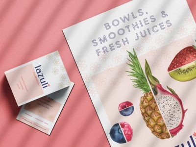 Lazuli Superfood Cafe Menu Suite branding menu board print design print cafe acai bowl acai fruit pink menu design menu typography type
