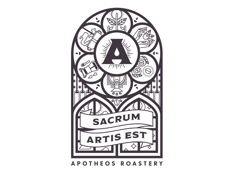 Apotheos Stained Glass Window roastery tshirt design tshirt stained glass window stained glass coffee icon illustration