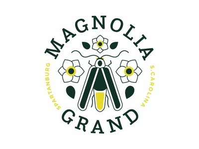 Magnolia Grand Unused Direction Pt. II bug south carolina magnolia seal badge insect firefly floral flower design typography branding icon logo