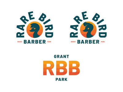 Rare Bird Barbershop Unused Direction I retro mongram badge barbershop barber mascot character duck bird typography branding icon logo illustration