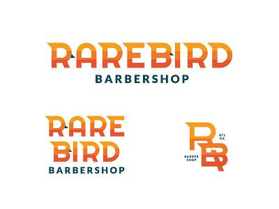 Rare Bird Barbershop Unused Direction II gradient sans serif geometric blocked striped bird barbershop barber type typography branding logo