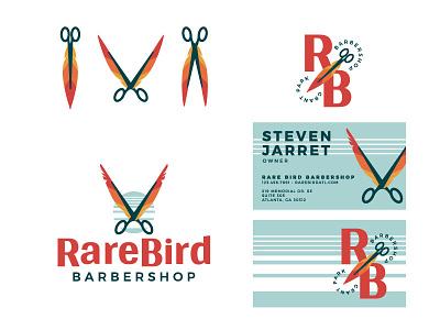 Rare Bird Barbershop Unused Direction III monogram striped retro business card barbershop barber schears feather scissors bird abstract typography branding icon logo illustration