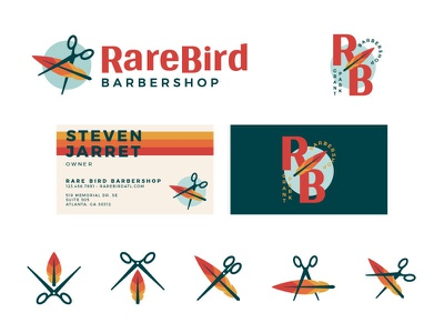 Rare Bird Barbershop Unused Direction IV business card barbershop barber type monogram feather schears scissors abstract typography branding icon logo illustration
