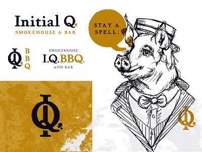 IQ BBQ Unused Direction 2 mustard texture sketch south carolina bbq q i monogram type wordmark typography branding logo illustration