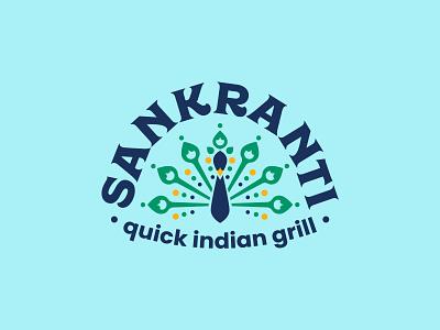Sankranti Quick Indian Grill brand design graphic design indian food indian geometric pattern blue restaurant branding restaurant brand restaurant logo design peacock typography branding icon logo illustration