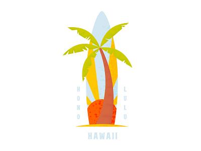 Surfboard Sunrise tshirt tshirt design beachy beach palm tree sun surfboard tropical hawaii texture illustration