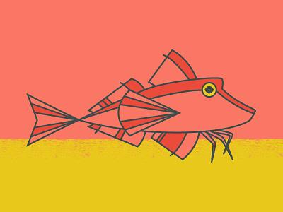 Red Gurnard monowidth monoline line illustration fish gillustration