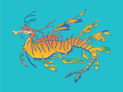 Leafy Sea Dragon leafy sea dragon gradient seahorse illustration gillustration fish