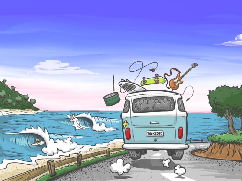 Band tour surfing beach kombi