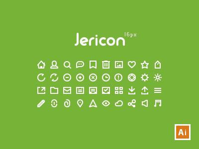 Jericon Mini 16px V1 freebie 16px resource ai icons glyph minimal