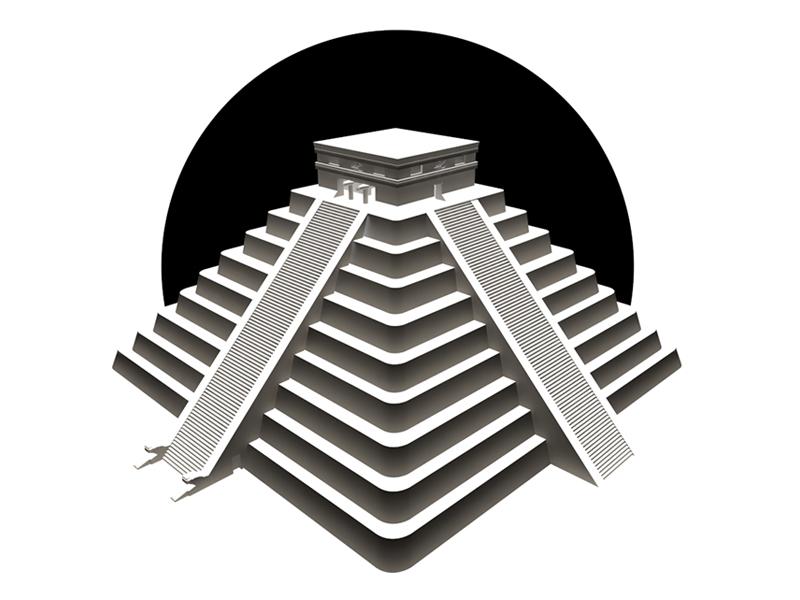 El Castillo at Chichen Itza greyscale pyramid c4d cinema4d illustration