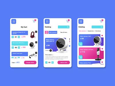 Digital store app blue mobile webshop store digital branding app product design ux