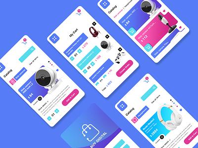 Digital store app graphic design blue mobile applicaton digital