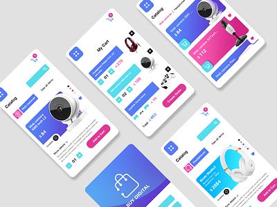 Digital store app ux ui light background product design mobile apps graphic design