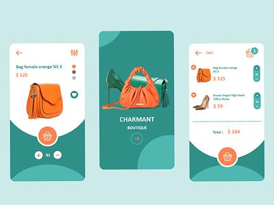 Fashion boutique mobile app product design graphic desig orange green fashion boutique mobile app