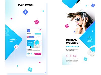 Shot:  Digital webshop app presentation online store digital webshop product design uiux mobile application