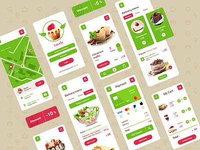 Food Delivery Mobile application food delivery application cafe application mobile apps mobile application design ui kit design logo digital branding ui ux mobile application product design