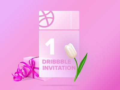 One Dribbble Invitation branding pink design dribbble invite