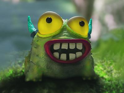 Sapito enviroment games vfx cgi art direction zbrush 3d models 3d modeling octane creature cinema4d c4d 3d model 3d artist 3d art smile monster frog
