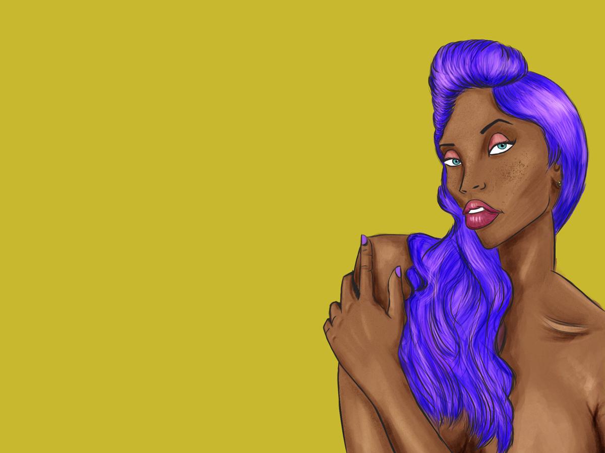 Purple space face pose model girl character art fashion body art character afro digitalart portrait photoshop purple hair illustration purple