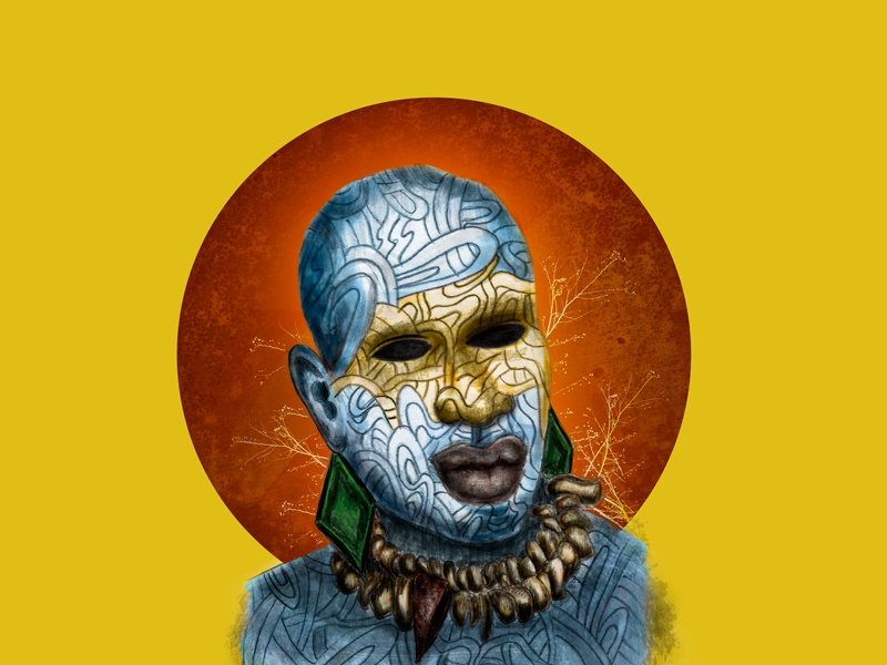 African Warrior mixmedia mixed hand made draw concept art concept illustration portrait face character warrior afican