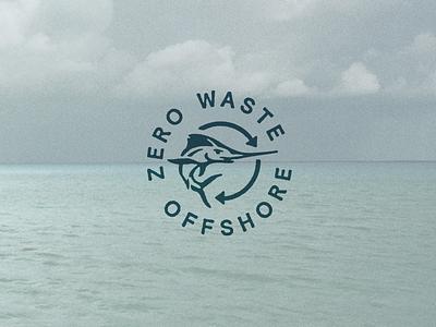 Zero Waste Offshore zero waste marlin outdoor icon badge fishing mark brand identity branding logo