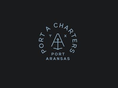 Port A Charters anchor design fishing mark brand identity branding logo