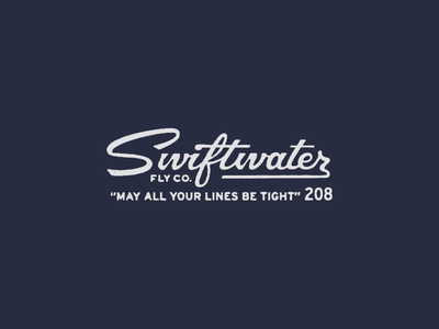 Swiftwater Fly Co. lines tight lettering custom script branding fishing fly logo