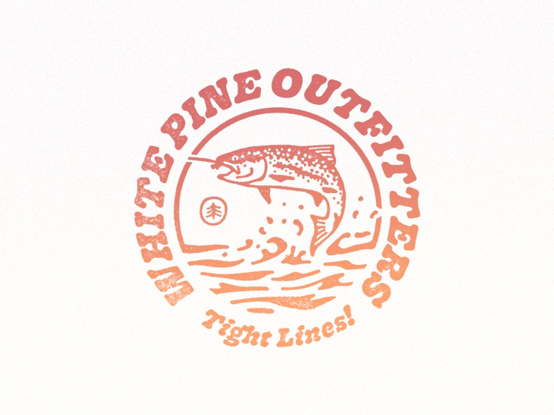 Retro Fish badge lines tight retro fish outfitters pine white fishing fly