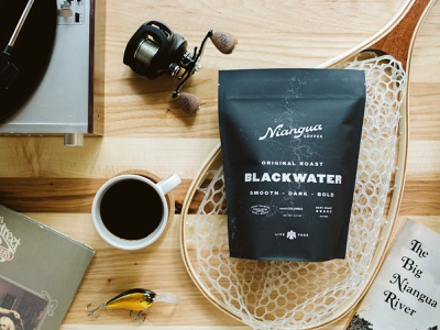 Niangua Coffee — Blackwater outdoors fishing packaging design coffee packaging identity branding logo