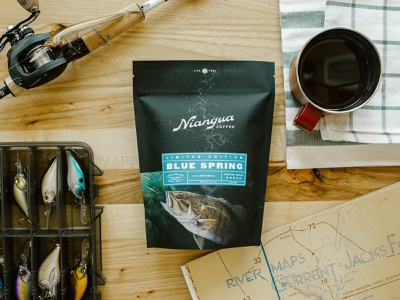 Niangua Coffee — Limited Edition river coffee outdoor fishing packaging identity branding logo