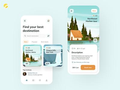Travel app design concept user friendly clean android app ios app design design concept review rating desciption booking relax vacation concept accommodation travelling tourism travel app ux ui design