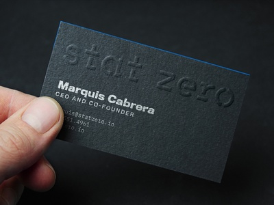 Business Card for Stat Zero card design businesscard blind emboxx business card business card design branding