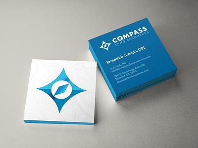 Compass Logo and Business Cards identity branding design blue card square spot uv compass oklahoma logo branding business card design business card