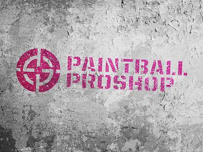 Paintball Proshop magenta oklahoma stencil brand identity cmyk grunge logo design branding logo design logo