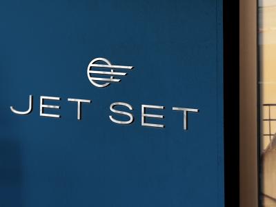 Jet Set Wall Sign identity design brand blue branding oklahoma logo