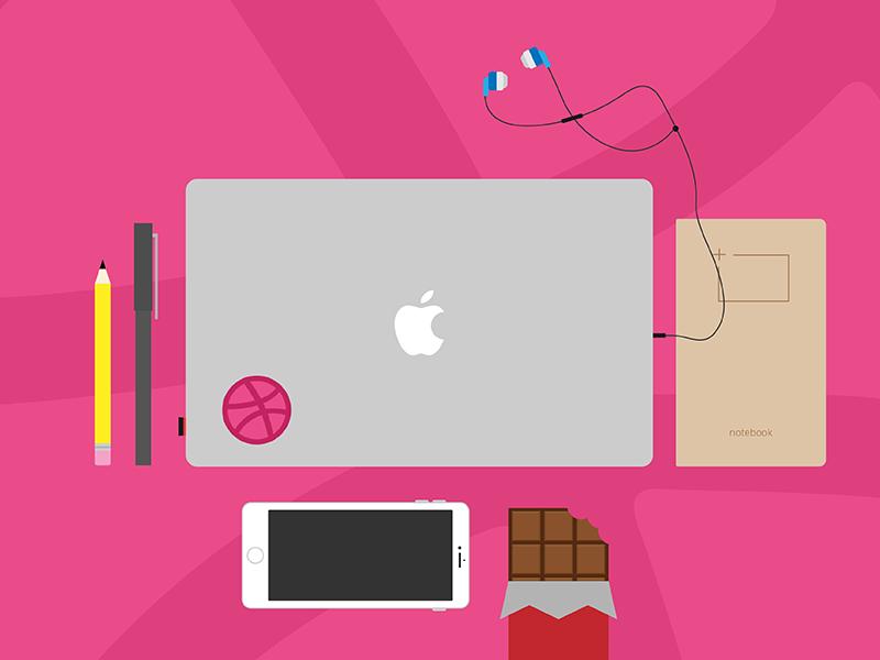 Hiya 👋🏼 illustration workspace hello dribbble debut