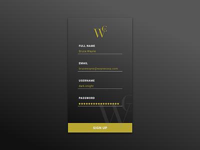 Daily UI #001 | Sign Up dc comics user interface ui bruce wayne batman mobile design ui design sign up daily ui 001 daily ui