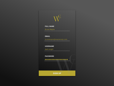 Daily UI #001 | Sign Up dc comics user interface ui bruce wayne batman mobile design ui design sign up daily ui 001 daily ui