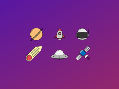 Out of This World vector art illustrations icons space