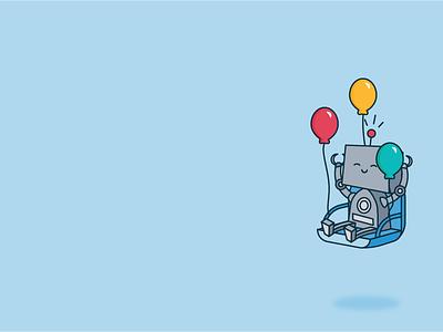 Celebrate! illustration balloons happy celebrate robot robots