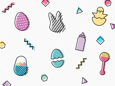 Happy Easter! babies chicks memphis design memphis easter bunny bunny rabbit eggs easter