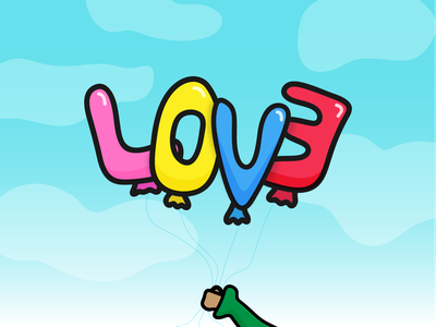 Happy (belated) Valentine's Day balloons hearts love illustration valentines day
