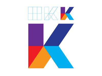 Peculiar K color logotype identity isotype k