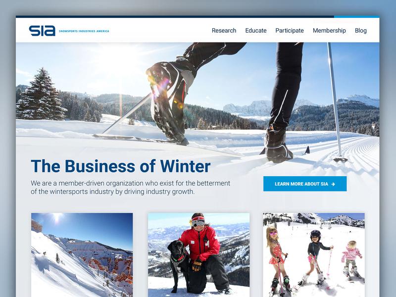 Snowsports Industries America Site Re-Design brand art direction web design