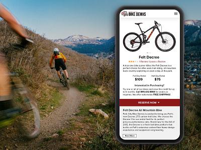 Park City Bike Demos Rental Site ui art direction brand ecommerce web design