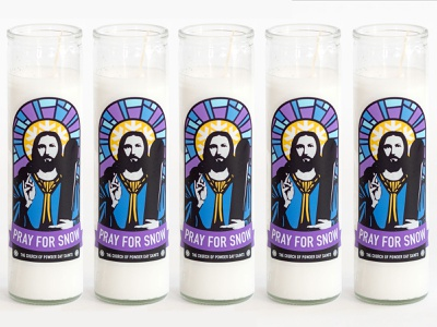 Powder Day Saint Prayer Candle candle jesus skiing merchandise illustration ecommerce product